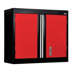 26 in. H x 30 in. W x 12 in. D Modular Steel Wall Cabinet Full Pull in Black/Red