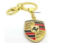 Porsche nyckelring i guld-f�rg