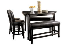 Counter height table with 4 swivel chairs and a double bench