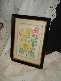 Pretty Vintage Botanical mid century modern print floral flowers pencil color