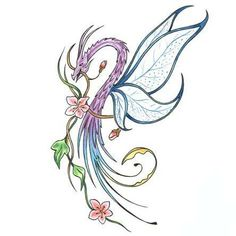 Dragon With Dragonfly Wings Tattoo Design - TattooWoo.com Dragonfly Tattoo Design, Wing Tattoo Designs, Dragonfly Wings, Dragon Tattoo Designs, Butterfly Wings, Butterfly Dragon, Tatoo Art, Body Art Tattoos, Tattoo Drawings