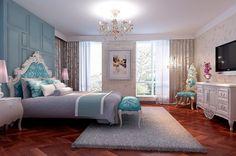 Bedroom Design, Beautiful Bedroom Ideas For Women With Hardwood Floor And Beautiful Blue Color Headboard: 10 Modern Bedroom Designs For Wome...