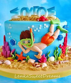 Under The Sea Diving Cake. Under the sea diving cake. Pool Party Cakes, Pool Cake, Beach Themed Cakes, Beach Cakes, Cupcakes, Cupcake Cakes, Bolos Light, Swimming Cake, Ocean Cakes