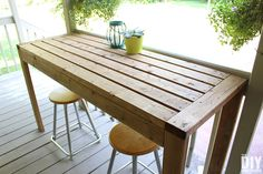 How to Build a Outdoor Bar Table (The D. Dreamer) - Heather Mikulas - How to Build a Outdoor Bar Table (The D. Dreamer) How to Build a Outdoor Bar Table - Outdoor Bar Height Table, Diy Outdoor Table, Diy Outdoor Furniture, Patio Table, Diy Table, Furniture Projects, Outdoor Dining, Outdoor Decorations, Outdoor Rooms