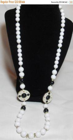 25% OFF Retro White Enamel Necklace Black and by GingersLittleGems
