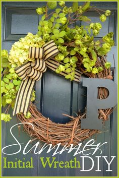 I really could not come up with a wreath for my door this summer… at first! I wanted a WOW factor wreath. Something that would be very personal and unique! Sorta sassy and not too traditional. Then I saw one on Pinterest that caught my attention… don't you love pinterest! It had a big initial on it. …