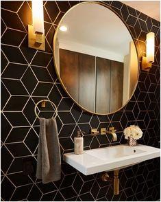 22 Bathroom Tile Ideas - Simple & Stylish Three Bold Tile Choices for a Family Home Art Deco Bathroom, Bathroom Sets, Small Bathroom, Art Deco Tiles, Art Deco Mirror, Small Wc Ideas Downstairs Loo, Wall Paper Bathroom, Art Deco Kitchen, Compact Bathroom