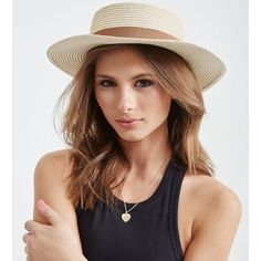 NWT wide brim boater straw hat Brand new Accessories Hats