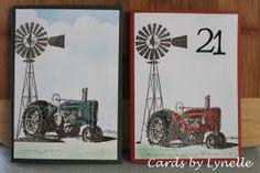 Kaszazz Tractor & Windmill stamp using the masking method.