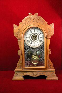 Antique Gilbert  Shelf Clock Glass Floral Wood