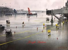 Joseph Zbukvic welcomes you to his watercolour site with galleries, events, exhibitions, materials, DVD's The Effective Pictures We Offer You About Aircraft runway A quality picture can tell you many Watercolor Artists, Watercolor Landscape, Artist Painting, Watercolor Paintings, Watercolors, Watercolor City, Urban Painting, Drawing Artist, Dawn Pictures