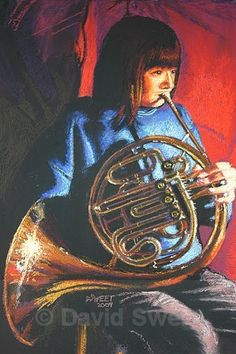 Girl on a French Horn - Children's Portraits French Horn, Musical Instruments, Horns, Musicians, Nostalgia, Portraits, Paintings, Play, Artwork