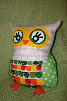 Made an owl cushion, he's my cuddly buddy!