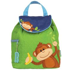 Stephen Joseph Boys' Quilted Backpack, Green Monkey * You can get additional details at the image link.