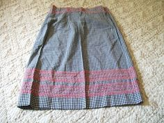 Gingham Apron Chicken Scratch Embroidery by VintagePlusCrafts, $6.00