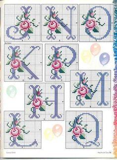 Cross stitch rose alphabet J-Q Cross Stitch Letters, Cross Stitch Love, Cross Stitch Flowers, Cross Stitch Charts, Cross Stitch Designs, Embroidery Alphabet, Ribbon Embroidery, Cross Stitch Embroidery, Embroidery Patterns