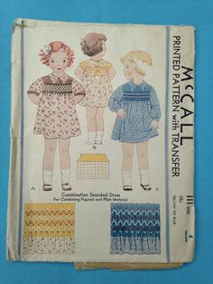 Vintage American McCall's 1930s sewing pattern for childrens Combination Smocked Dress di WakeUpLittleSusies su Etsy https://www.etsy.com/it/listing/248448220/vintage-american-mccalls-1930s-sewing