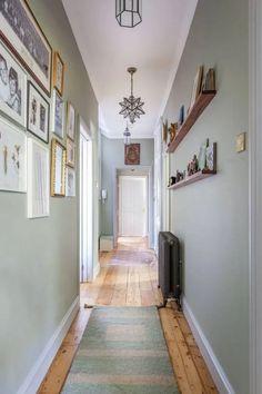 Hallway decor home wall colour, hallway wall colors, hallway walls Hallway Wall Colors, Dark Hallway, Hallway Wall Decor, Hallway Walls, Upstairs Hallway, Entryway Decor, Modern Hallway, Hallway Decorations, Hall Way Decor