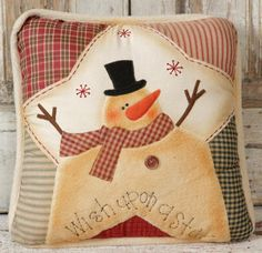 Primitive Christmas Snowman Pillow Wish Upon A Star