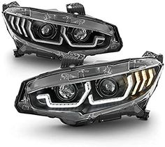 Amazon.com: ACANII - For 2016-2018 Honda Civic Halogen Black LED Tube Sequential Turn Signal Projector Headlights Headlamps Assembly: Automotive