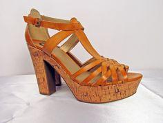 Shoes - U.BE.U. FASHION  Guess Tan Strapped Cork Heels  Size 9 1/2 $29.00