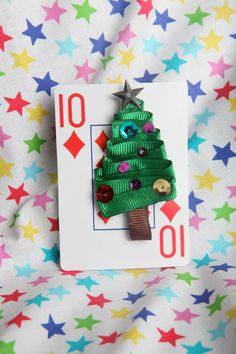 Oh Christmas Tree Ribbon Sculpture Hair Clip by lemonsnicker, $6.00