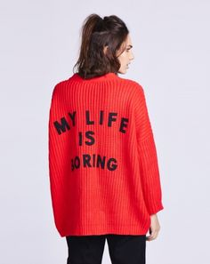 Lazy Oaf Red Boring Cardigan - colour on point coral red