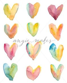 Watercolor Rainbow Hearts Background Pattern. Isolated Watercolor Hearts - Angie Makes Stock Shop
