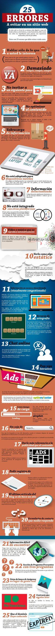 25 errores a evitar en un sitio web #infografia #infographic