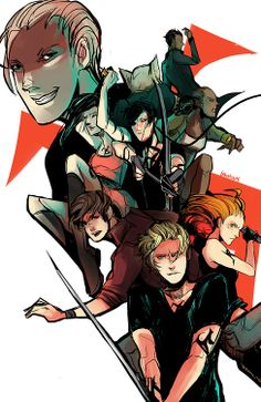 TMI Group (CoHF) via Aegisdea on Tumblr I always see them with certain wepons. jace- sereph blade, alec- bow, izzy- whip, simon, teeth, maia and jorden- wolf claws, clary throwing knives. <====== i thought i was the only one with clary and throughing knifes