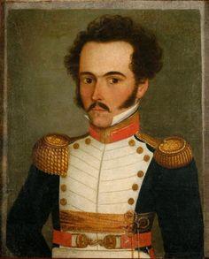 """812. Simón Bolívar.  Tenía aquí 29 años Pintura de autor anónimo. Este cuadro se encuentra en el Museo """"Quinta de Bolívar"""" en Bogotá, Colombia."""