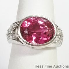 18K White Gold Fine Diamond Pink Tourmaline Ladies Ring New With Tags Size 6