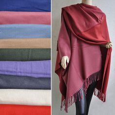 Poncho Cape Überwurf Beige Braun Grün Violett Himbeerrot Rot mit Fransen elegant