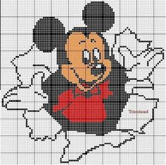 Mickey Mouse x-stitch Disney Cross Stitch Patterns, Cross Stitch Charts, Cross Stitch Designs, Disney Stitch, Cross Stitching, Cross Stitch Embroidery, Disney Quilt, Pixel Art Templates, Crochet Disney