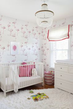 Project Nursery - Coral and Cream Nursery with Modern Flamingo Wallpaper