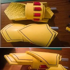Finally finished my Ember Celica gauntlets for my Yang cosplay! T'was my first time properly making a weapon/prop from eva…