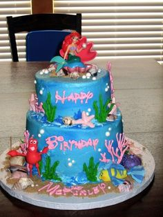 ariel birthday cake. My little girl will have an ariel bday party someday.