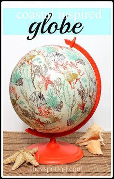 The V Spot: An old globe gets a coastal inspired make-over. (Using paper napkins and Mod Podge.)
