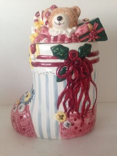GKAO Christmas Holidays Presents Stocking Ceramic Cookie Jar