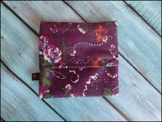 Travel Wrapper for Reusable Cloth Pad - Purple Floral - Waterproof PUL