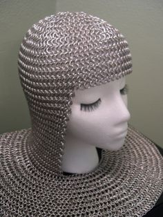 Not *exactly* jewelry, but...a chainmaille coif and mantle by Athena's Armoury, bright aluminum in expanding European 4-1 weave. $150.