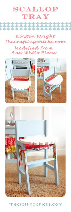 how stinking cute is this scalloped tray on this handmade doll high chair? By the Crafting Chicks!