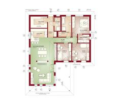 Floor plan bungalow house single storey with hipped roof architecture, bay window extension & terrace - house building ideas prefab house corner bungalow AMBIENCE 110 by Bi . Bungalows, Haus Am Hang, Hip Roof, Roof Architecture, Prefab Homes, How To Level Ground, Bay Window, Building A House, House Plans