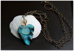 Aqua Blue Leaf Beach Glass Necklace by Glass Sparrows  Rustic Beach Designs Lake Erie Beach Glass