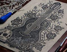 Visit Nashville Today - Block Print on Behance Wie Zeichnet Man Manga, Linocut Prints, Art Prints, Lino Art, Scratchboard Art, Stamp Carving, Stencil Painting, Grafik Design, Woodblock Print
