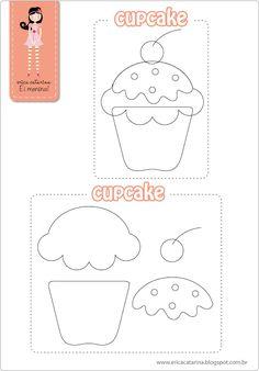 Molde Cupcakes em Feltro