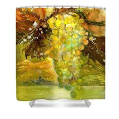 Chardonnay Grapes in sunlight Shower Curtain by Sabina Von Arx Yellow Bathroom Decor, Autumn Lights, Green Grapes, Curtains For Sale, Basic Colors, Beautiful Paintings, Painting Techniques, Sunlight, Colorful Backgrounds