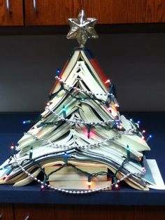 Christmas tree made from weeded/recycled books from my own library