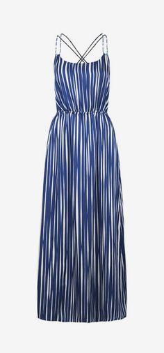 Blue Wavy Stripe Maxi Dress