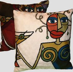 Decorative Pillows - Picasso Woman with Martini, Ivory